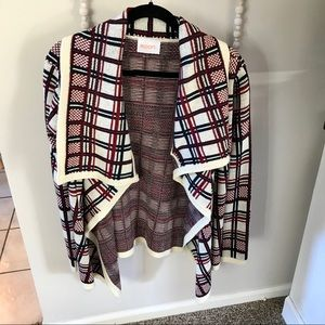 Black and red plaid sweater cardigan - size small